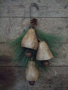 Primitive Christmas/Holiday/Winter hanging gourd bell garland #NaivePrimitive