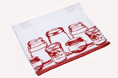 Burgundy Canning Tea Towels With A Beautiful Crochet Edging Gift Set.