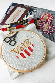 The perfect cross stitch pattern for an election year! Embroidery Patterns, Hand Embroidery, Cross Stitch Patterns, Machine Embroidery, Cross Stitch Maker, Types Of Stitches, Dmc Floss, Modern Cross Stitch, Hoop