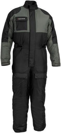 FirstGear Thermo: 100% waterproof, 210 denier Hypertex.  120-gram polyester insulation.  Elasticized ankle closures and adjustable waist.  Full storm flap closures on zippers, pockets and cuffs.
