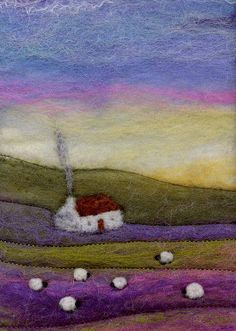 Sunset at The Croft    Small needle felted landscape in frame.  Really pleased with the vibrant pink streaks in this piece. I like the unanticipated aspect of felting.