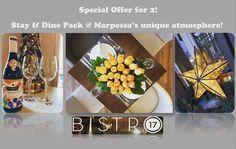 Saturday Stay & Dine Package μόνο με 99 €!  Μόνο για αυτό το Σάββατο, σας προσφέρουμε διαμονή σε deluxe δίκλινο & δείπνο για δύο στο Bistro 17, συνοδευόμενο με κρασί  Beaujolais της νέας σοδειάς, το κορυφαίο Georges Duboeuf!  Και φυσικά το μοναδικό πακέτο περιλαμβάνει ελεύθερη είσοδο στο 9 Limnes Hammam & Spa και σπιτικό πρωινό στο δωμάτιο..  Marpessa Hotel  Τ.2641047500 welcome@marpessa.gr www.marpessa.gr
