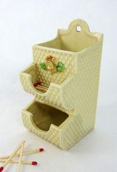 Ceramic Match Safe Holder Wall Mounted Match Stick by MinniesFlea, $34.00