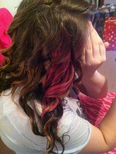 Pink peekaboo highlights in carmel hair! Pink peekaboo highlights in carmel hair! Dark Red Hair, Red Hair Color, Hair Color Balayage, Hair Colors, Pink Peekaboo Highlights, Red Peekaboo, Hair Highlights, Dye My Hair, New Hair