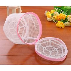 Laundry Protect Bag Underwear Bra Storage Drying Rack Basket Lingerie Clothes Wash Mesh Net Zipper Bags w/ Plastic Frame Hanger