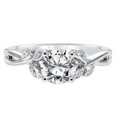 ARTCARVED Side Stone White Gold Diamond Engagement Ring 31-V317ERW-E