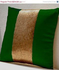 20% SALE Throw Pillows - Emerald green gold color block in silk sequin bead detail cushion - sequin bead pillow - 16X16 Emerald green pillo
