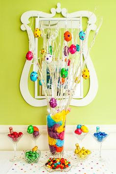 Paper-Mache Ester Egg Display - Alice in Bakingland Lighted Branches, Entrance Ways, Fairy Lights, A Table, Easter Eggs, Alice, Display, Jewels, Crafty