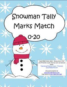 Snowman Numbers Tally Marks Match 0-20 FREE Teacher Resources, Teaching Ideas, Tally Marks, Work Task, Kindergarten Math, First Grade, Winter Holidays, Classroom Ideas, Snowman