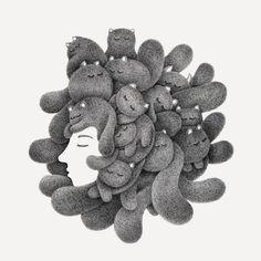 Dreams. 14 Furry Cats and 1 Furry Monkey Drawings. By Kamwei Fong.