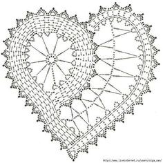 Ideas Crochet Heart Doily Pattern For 2019 Filet Crochet, Beau Crochet, Crochet Diagram, Crochet Chart, Thread Crochet, Crochet Motif, Crochet Designs, Freeform Crochet, Crochet Doilies