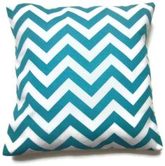 Two Turquoise White Pillow Covers Chevron by LynnesThisandThat, $25.00