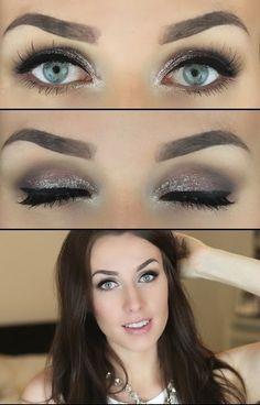Subtle Glittery Smokey Eye #glitter
