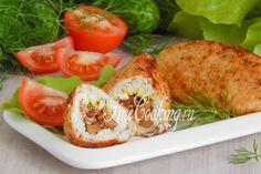 Давайте приготовим вкусные, нежные, ароматные и сочные куриные зразы с грибами. Chicken Tenderloins, Fresh Rolls, Baked Potato, Sushi, Tacos, Turkey, Potatoes, Meat, Baking