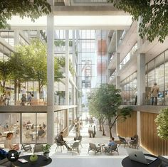 Foster + Partners Design Open Office Building in Luxembourg,Belval Office Building. Image Courtesy of Foster + Partners Library Architecture, Green Architecture, Landscape Architecture, Landscape Design, Architecture Design, Industrial Architecture, Open Office, Beaux Arts Lyon, Atrium Design