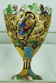 Swiss gold and enamel Zarf made for Turkish Mkt : Lot 127