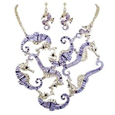 EVER FAITH Sea Horse Necklace Earrings Set Austrian Crystal Purple * Want to know more, click on the image. Horse Necklace, Austrian Crystal, Earring Set, Jewelry Sets, Faith, Sea, Crystals, Purple, Bracelets