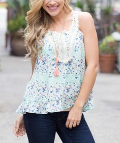 Loving this Pinkblush Mint Green Floral Tank on #zulily! #zulilyfinds
