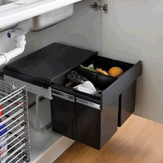This compact pull out waste bin is specifically designed for under sink installation. Compact dimensions allow for most plumbing arrangements. 30 litre total capacity with 2x 15 litre bin compartments.