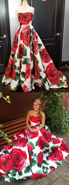 modest strapless prom party dresses, fashion floral evening gowns, #promdresses #floral