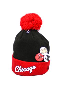 ff51c348c7c Chicago Bulls Button Beanie (Black Red) by