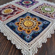 Ideas for crochet pillow mandala yarns Crochet Afghans, Crochet Mandala Pattern, Crochet Square Patterns, Crochet Pillow, Crochet Squares, Crochet Granny, Crochet Yarn, Crochet Stitches, Crochet World