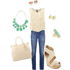 Luxe casual ivory, jade, and gold, created by jennymurphy on Polyvore