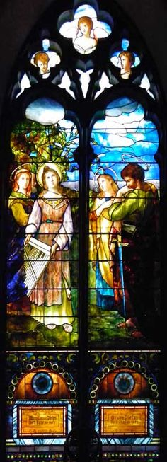 Five Tiffany Nave Windows; Trinity Episcopal Church; 389 Delaware Avenue, Buffalo, NY; Designer: Tiffany Glass Company; Style: Opalescent; St. Cecilia window; installation: 1887.