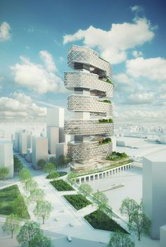 """""""Le Cinq"""" Office Tower / Neutelings Riedijk Architects- 2 long towers go through to hold the 5 horizontal blocks together to hold the building in place, its an impressive design due to how big it actually is"""