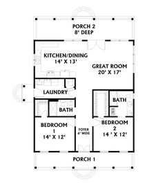 Country House Plan First Floor for Home Plan also known as the Holgate Bend Cottage Home from House Plans and More. Cottage Floor Plans, Cottage Style House Plans, Cottage House Plans, Country House Plans, Tiny House Plans, Cottage Homes, House Floor Plans, Small House Plans Under 1000 Sq Ft, Craftsman Cottage