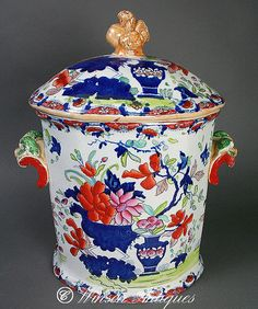A Rare Mason's Ironstone China Dough or Bread bin, decorated in a flowers and vase pattern, having the transfer blue crown mark. Circa 1815 - 1825