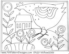 Art Patterns Rug Hooking, M Shaw-FolkArt.com, Hen House hand drawn on linen