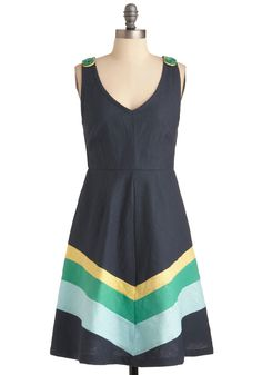 Beauty by the Bay Dress by Knitted Dove - Mid-length, Casual, Blue, Yellow, Green, Stripes, Buttons, A-line, Tank top (2 thick straps)