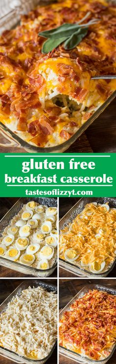 This Gluten Free Breakfast Casserole with bacon, cheese, eggs and potatoes is made quickly using frozen potatoes and hard-boiled eggs.