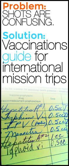Before your international mission trip, it's important to determine the shots that you'll need.
