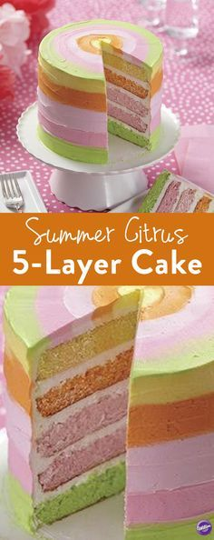 Summer Citrus 5-Layer Cake - Learn how to make a layer cake with this Summer Citrus 5-Layer Cake. This lovely summer cake explodes with citrus colors, making it a wonderful treat for summer weddings, birthdays, showers and more. Made using the Easy Layers! Cake Pan Set, this summer dessert can be baked in no time, and the Color Right Performance Color System makes it easy to match icing and batter colors.
