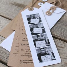 Photo Booth Wedding Invitations You have the photos taken - we will do the rest Our bookmark photo booth invitations come with the wedding invitation