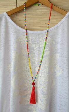 Long Tassel Necklace Red Beaded Necklace With Tassel Hippie Necklace Seed Bead Tribal Necklace Bohemian Buddha Necklace Gypsy Necklace Long collier pompon Collier de perles rouges avec hippie gland Fabric Jewelry, Boho Jewelry, Beaded Jewelry, Jewelry Necklaces, Fashion Jewelry, Beaded Bracelets, Dyi Necklace, Seed Bead Necklace, Tribal Necklace