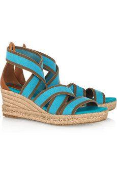 Stretch-canvas espadrille wedge sandals