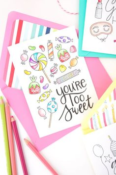 A Trio of Free Printable Coloring Cards (my latest k.becca project in collaboration with Damask Love) This Week's Picks ♥ So many gorgeous, textural cards by Lori Weitzner for Papyrus. ♥ Learn how to make a lovely paper flower crown. Bullet Journal Writing, Bullet Journal Themes, Bullet Journal Inspiration, Printable Cards, Free Printables, Color Card, Printable Coloring, Easy Drawings, Summer Drawings