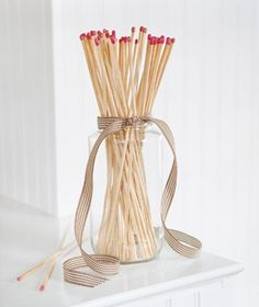 Decorate With Grocery Store Items - matchstick bundle : realsimple --- pp: Cute idea for the mantle if you have a wood burning fireplace Cottage Fireplace, Fireplace Mantles, Fireplace Ideas, Fireplaces, Home Decor Dyi, Basement Inspiration, Living Room Decor, Living Spaces, Christmas Decorations