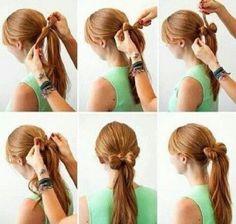 Coleta con moño,  encuentra más peinados recogidos paso a paso en http://www.1001consejos.com/peinados-recogidos-paso-paso/