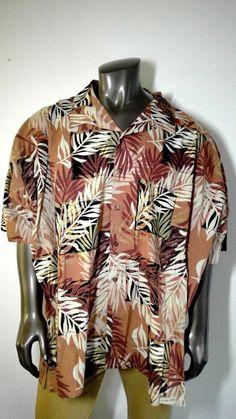 f988fc17 6XB Eddie D Vintage Hawaiian Shirt Brown Earth Tone Aloha Shortsleeve Shirt  #EddieD #Hawaiian