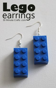 Make your own earrings from Lego blocks