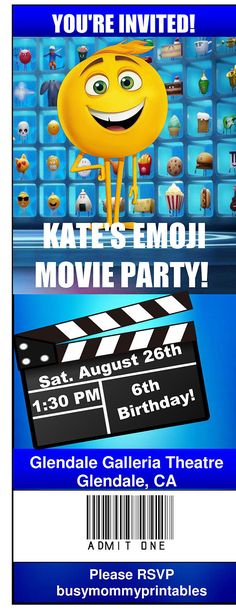 Emoji Movie Inspired Party Invitations Ticket Invitation Invites