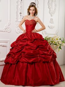 c11a212d194 Sweetheart Dark Red Ball Gown Taffeta Beading Quinces Dresses with Pick-ups  Sweet 15 Dresses