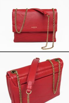 269380b21f2d Mini Sugar bag in natural quilted red satin lambskin - branded with a gold  Lanvin logo. Long gold metal chain and leather insert - small zippered  pocket at ...
