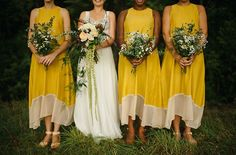 Yellow bridesmaid dresses perfect for a summer #wedding! From http://greenweddingshoes.com/laidback-new-zealand-campground-wedding-kate-liam/  Photo Credit: http://nordicaphotography.com/#&slider1=5  Dresses by http://bul.com.au/