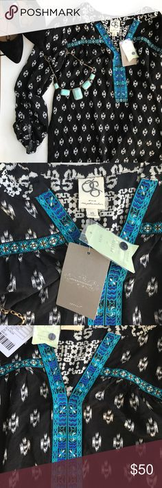 """Anthropologie One September Long Sleeve Blouse Brand new with tags Anthropologie One September blouse. Beautiful blue detail and black and white pattern. Sleeves can be buttoned for quarter length sleeves and are 18"""". When they are unbuttoned they are 26"""". 26 and 1/2"""" from shoulder to bottom of shirt. 18"""" wide under the arms. Also comes with an extra button. Beautiful top! Anthropologie Tops Blouses"""
