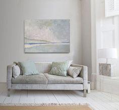 Resumen pintura blanco azul y verde moderno por INKAARTSHOP en Etsy